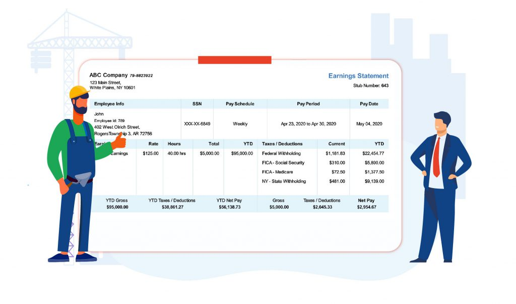 Create pay stub for employees and contractors